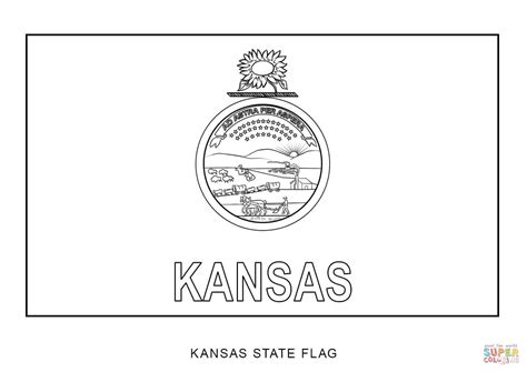 Kansas State Flag Coloring Page flag of kansas coloring page free printable coloring pages