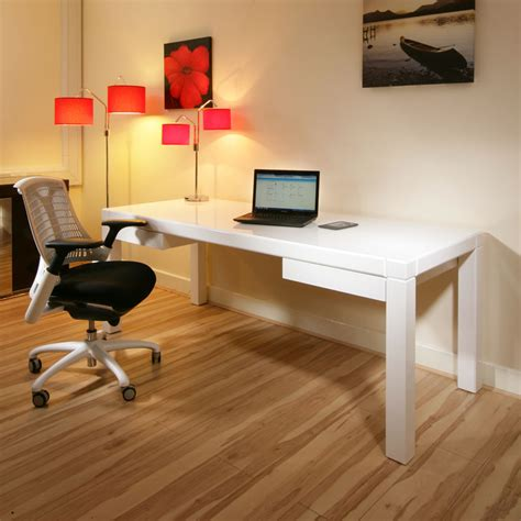 large modern designer desk work station white gloss glossy