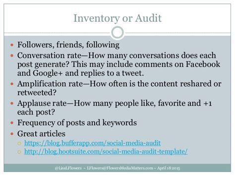 Creating Your Social Media Plan Strategy Dtcc April 2015 Social Media Audit Template Hootsuite