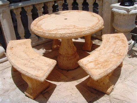 Concrete Patio Tables And Benches Concrete Cement Tables With 3 Benches 269 Picnic Tables Garden Outdoor Ebay