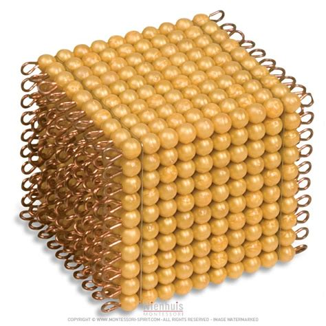 one golden bead cube of 1000 individual