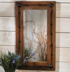 western mirrors for the bathroom rustic ranch barbed wire mirror reclaimed furniture