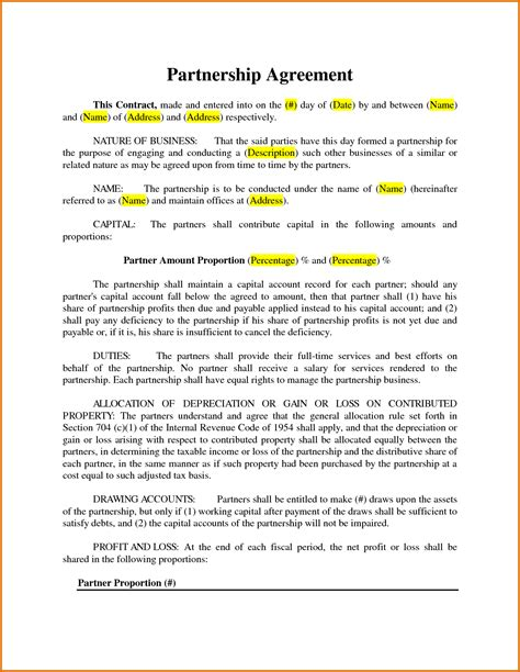 business partnership agreement canada drawings art gallery