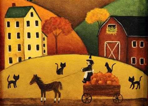 A Frame Houses Original Hand Painted Primitive Halloween Folk Art Picture
