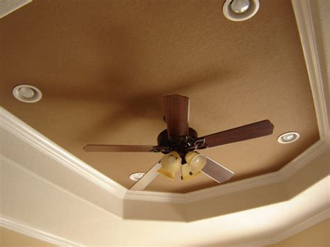 Recessed Lighting And Ceiling Fan Design Tray Ceiling Ideas With Brown Color Octagon Shape Tray Ceiling And Recessed