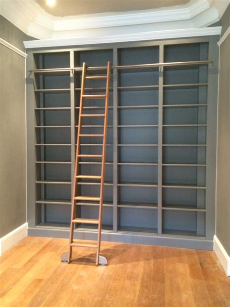 bespoke large bookcase with solid oak sliding ladder