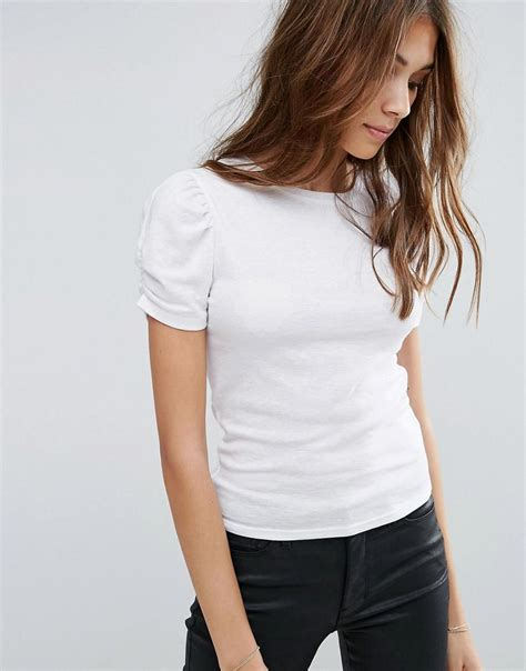 Puff Sleeve T Shirt new look puff sleeve t shirt in white lyst