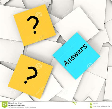 questions answers post it notes show stock illustration