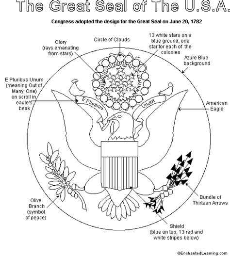 united states seal coloring page july 4th activity book great seal printout