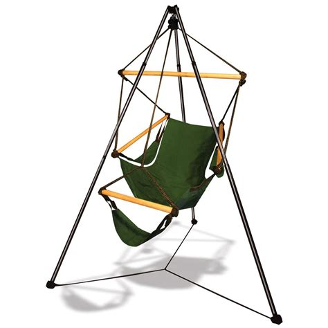 tripod cing furniture green hammaka 174 cradle chair tripod combo with aluminum dowels