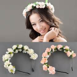 Headband With Flower - flower garland floral bridal headband hair band wedding
