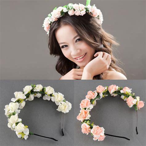 Wedding Hair With Flower Garland by Flower Garland Floral Bridal Headband Hair Band Wedding