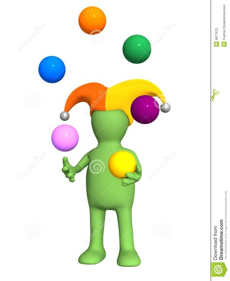 juggler 3d pattern 3d clown puppet juggling with color balls stock