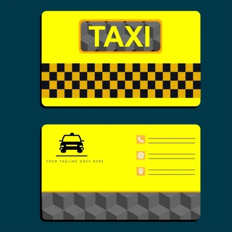 taxi name card template taxi name card template yellow design car icon vectors
