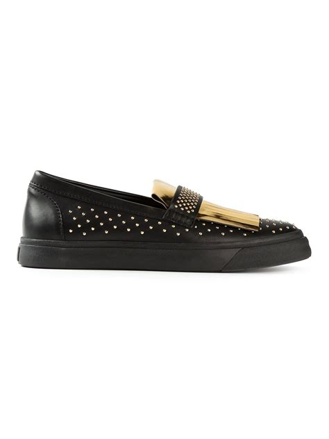 fringed loafers lyst giuseppe zanotti fringed loafers in black for