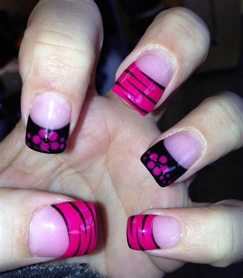 nailed  pink  black nail art zebra print french