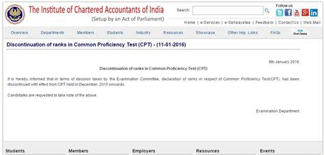 Mba Programs With Cpt by Ca Cpt Rank System Discontinued By Icai Examsleague