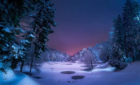 imagenes naturaleza invierno fondos de pantalla invierno lago bosques nieve noche