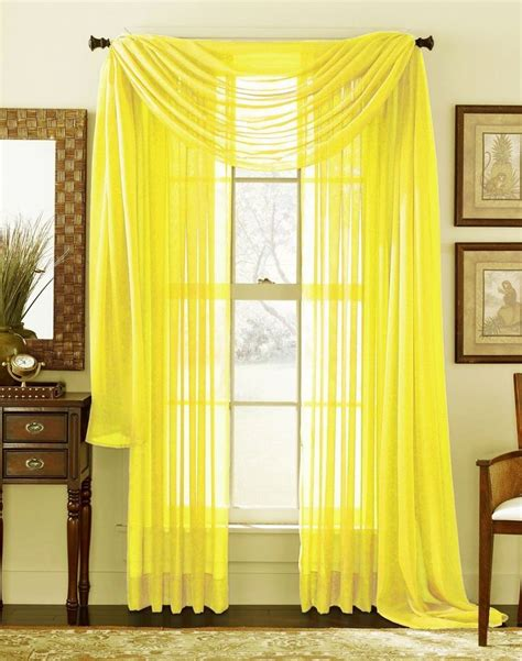 drapes sizes yellow scarf sheer voile window curtain drapes valance