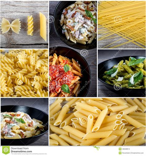 best dried pasta italian food collage stock photo image 48348814