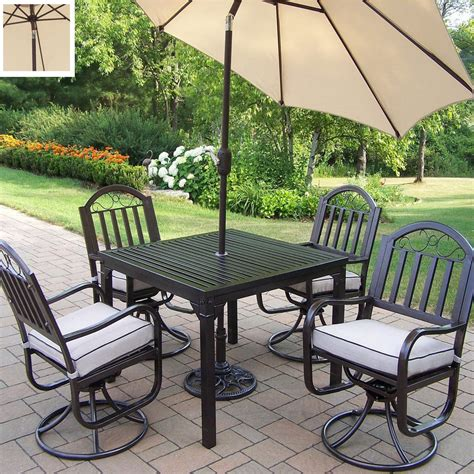 Shop Oakland Living 5 Piece Cushioned Wrought Iron Patio Wrought Iron Patio Dining Set