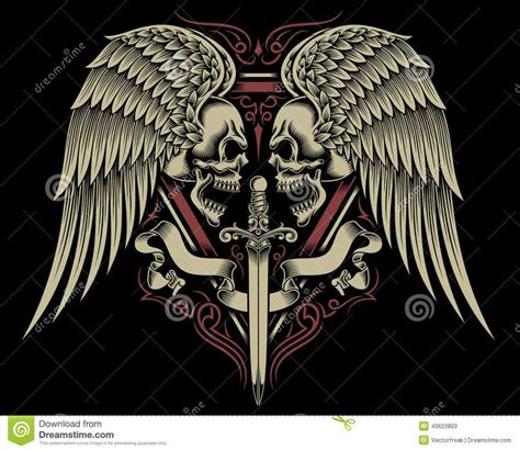 skull with wings tattoo designs american skull wings biker vector search