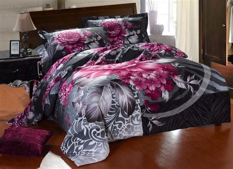 purple and gray bedding sets new beautiful 4pc 100 cotton comforter duvet doona cover
