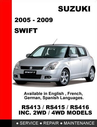 repairing 1999 suzuki swift body damage suzuki swift 2005 2009 rs415 service repair workshop