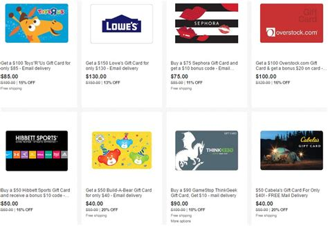 Where Can U Get Ebay Gift Cards - new gift cards on sale on ebay 15 off toys r us 13 off lowe s etc danny the