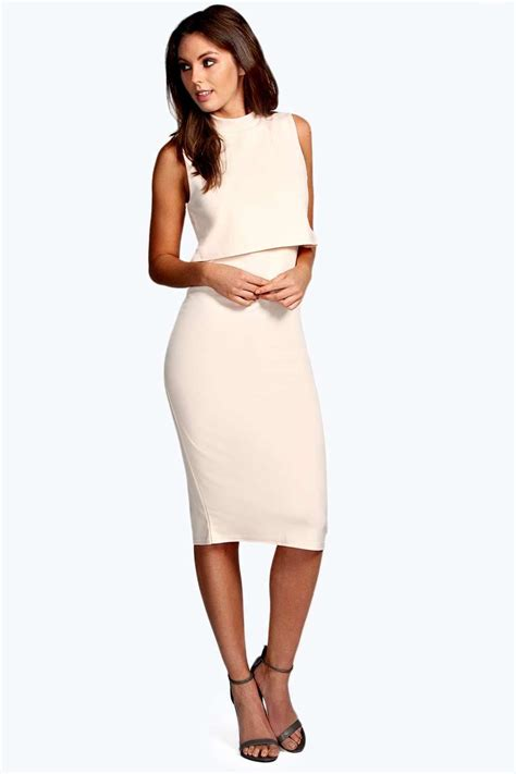Layer Dress 1 boohoo high neck layer midi dress sleeveless calf length ebay