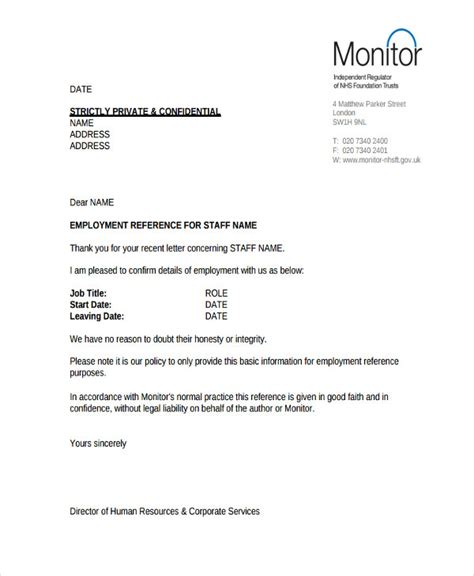6 hr reference letter templates 6 free word pdf