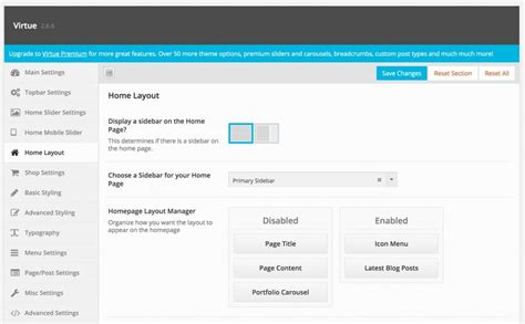 homepage layout manager virtue kadence themes creating a home page with virtue