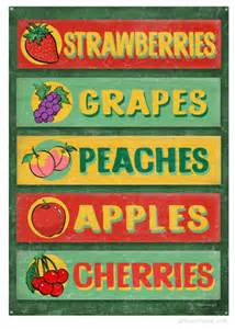 farm stand fruit sign board produce tin signs retroplanet com