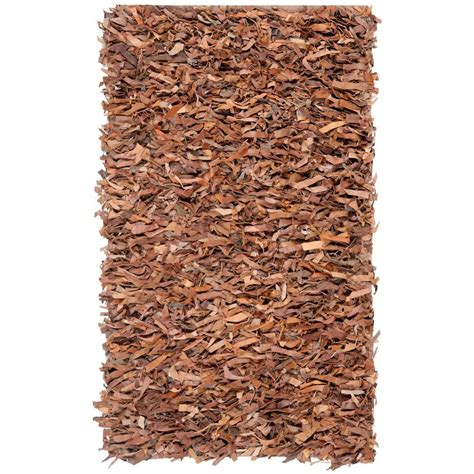 Safavieh Leather Shag Rug by Safavieh Leather Shag Brown 2 Ft 3 In X 4 Ft Area Rug
