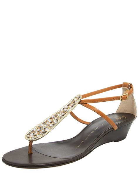 Giuseppe Zanotti Architectural Wedge Sandal It Or It by Giuseppe Zanotti Low Wedge Sandal In Beige Lyst