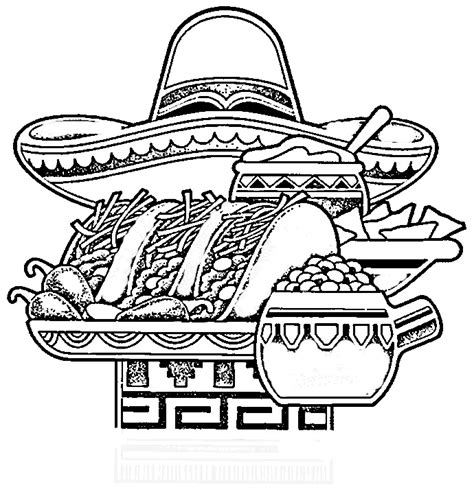 spanish food coloring page images mexican food cliparts co