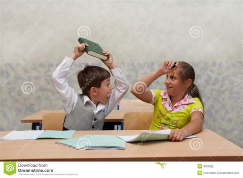 classroom fight on lesson stock photography image 3001962
