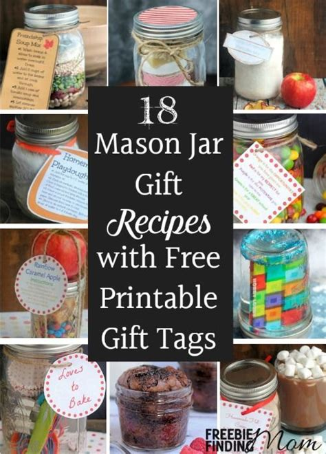 printable cookie jar recipes 18 mason jar gift recipes with free printable gift tags