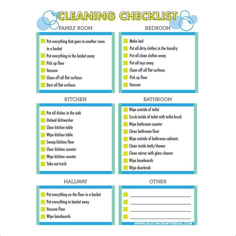 free printable cleaning checklist for kids