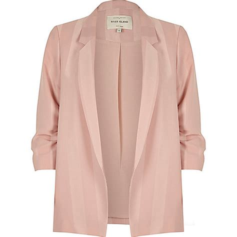 light pink womens light pink stripe ruched sleeve blazer blazers coats