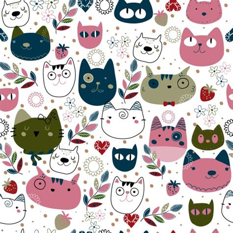 cute pattern cats pattern with cute cat heads vector free download