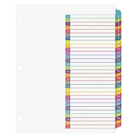 avery index tabs template avery ready index 1 31 tab dividers 31 tabs