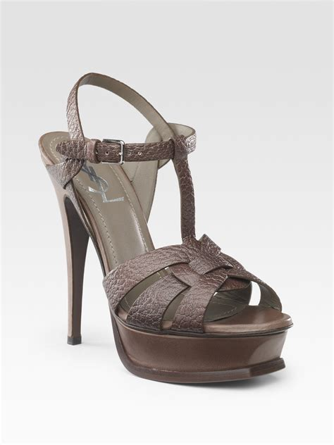 ysl tribute sandals laurent ysl tribute sandals in brown grey lyst