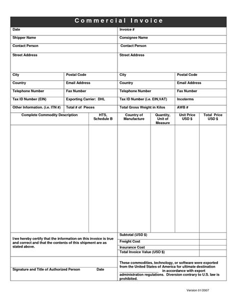 Dhl Invoice Form Invoice Template Ideas Dhl Invoice Template