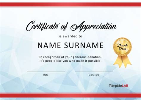 certificate of appreciation for donation template 30 free certificate of appreciation templates and letters