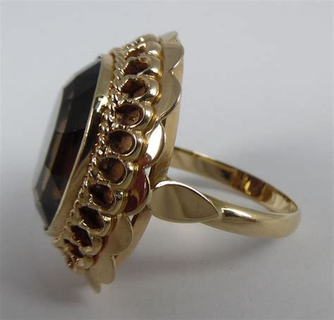 gold ring with large smoky topaz catawiki