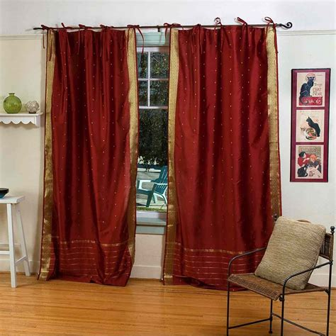 rust curtain panels rust tie top sheer sari curtain drape panel pair ebay