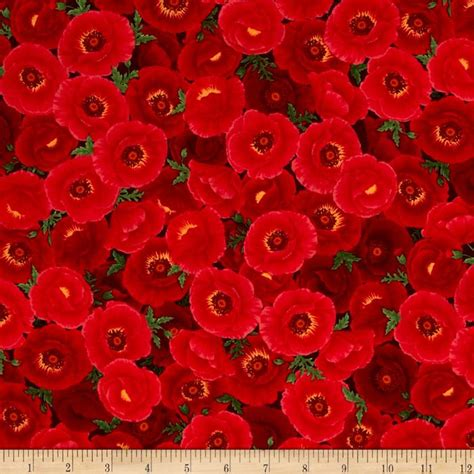 pattern for fabric poppy timeless treasures poppy grove packed poppies red