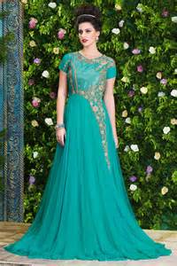 amazing sea green unstitched party wear gown indian