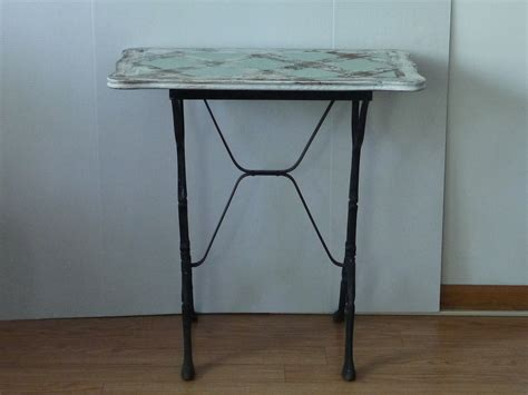 vintage black bistro table with wooden top omero home